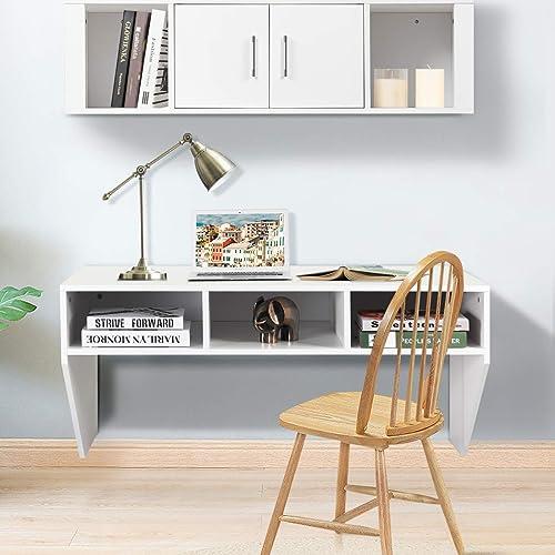 wholesale Giantex Wall Mounted Storage Cabinet outlet online sale and Floating Computer Desk Set W/Storage Shelves for Living Room, Bedroom, Office TV Media popular Floating Console Table Set outlet online sale