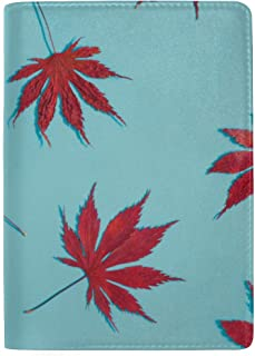Asian Maple Leaf Watercolor Red Autumn Maple Blocking Print Passport Holder Cover Case Travel Luggage Passport Wallet Card Holder Made with Leather for Men Women Kids Family