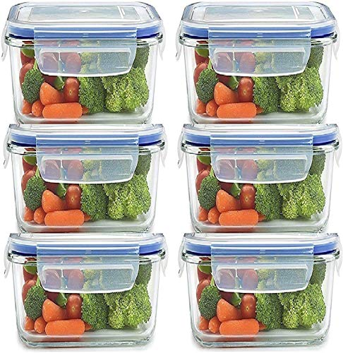 RYLAN Airtight Food Storage Containers Plastic Kitchen Storage Jars and Container Set, Kitchen Storage Container, Jar Set for Kitchen, Kitchen Storage Jars, Fridge Storage Containers 6pc (400ML-)