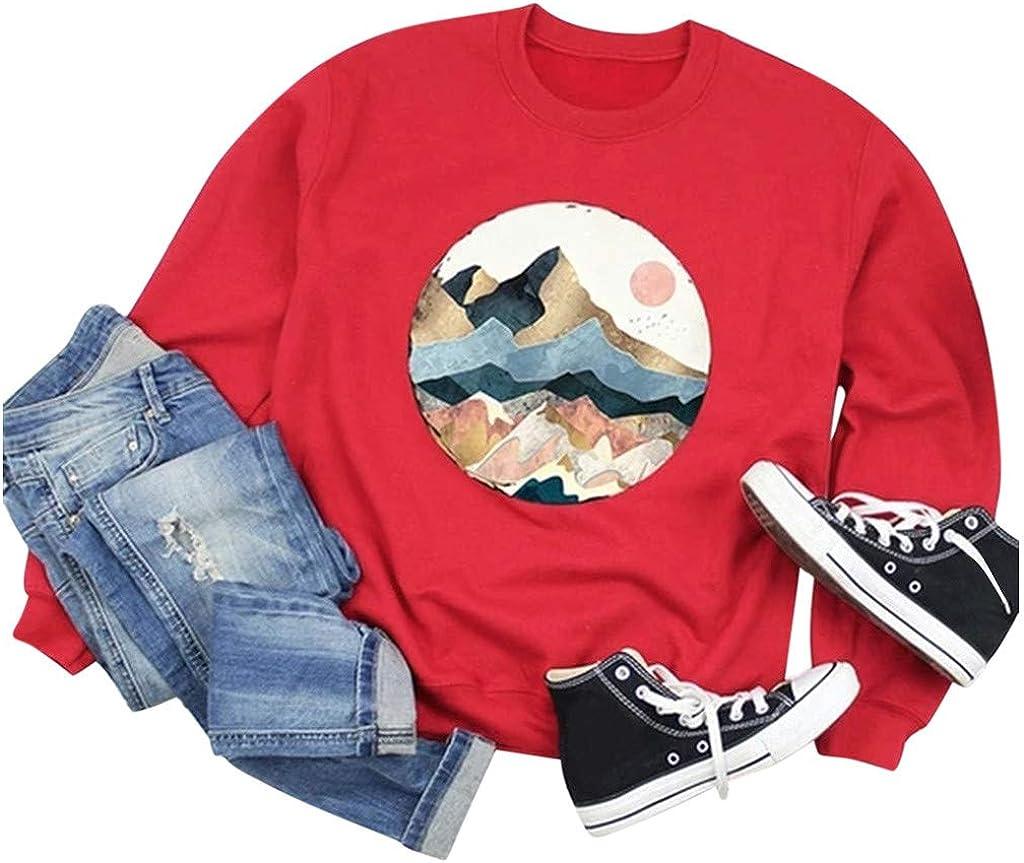 SHOBBW Women Sweatshirt Mountain Printed Pullover Long Sleeve Sweatshirt O Neck Plus Size Shirts Hoody Pullover Tops
