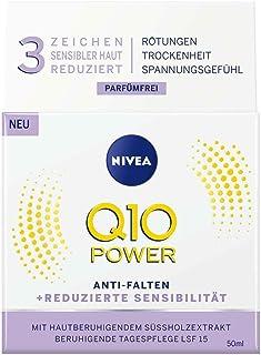 NIVEA Q10 Power Anti-Wrinkle + Minskad känslighet Dagvård för mjukare och yngre hud, dagkräm med SPF 15, 50 ml)