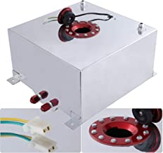 Universal 40 Liter 10 Gallon Light Weight Chrome Aluminum Fuel Cell Tank Replacement With Level Gauge Sender Red Cap Track Drag Racing Drift