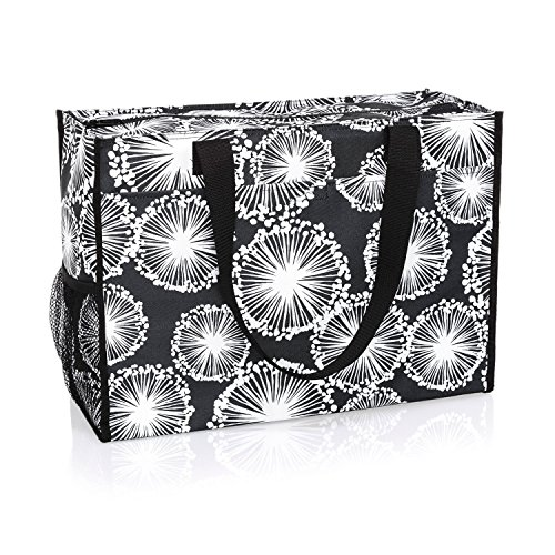 Thirty One Deluxe Organizing Utility Tote Zip Top in Dandelion Dream - No Monogram - 8800