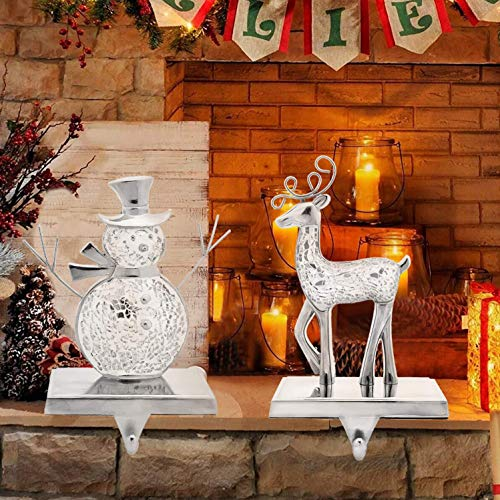 Christmas Stocking Hangers for Mantle,Metal Reindeer Holiday Christmas Decorations,Christmas Fireplace Holder Decor (Snowman & Elk)