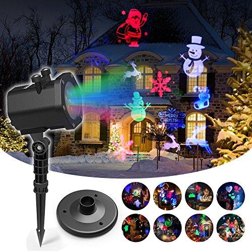 Proiettore Luci Natale LED con 15 Diapositive, Proiettore Impermeabile Luce Interno e Esterno con Telecomando RF per Compleanno, Pasqua, Natale, Matrimonio, Halloween Decorazioni