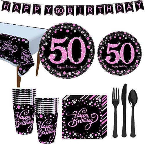 """50th Birthday Pink Gold Party Supplies, Disposable Tableware for 16 Guest, Include 7"""" Paper Plates,9"""" Plates, Banner, 12 oz Cups, Napkins, Tablecloth, Cutlery…"""