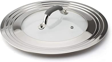 HOMVIDA Universal Lid for Pots and Pans Cover Fits 7 to 12 Inch, Stainless Steel and Glass Lid with Heat Resistant Handle ...