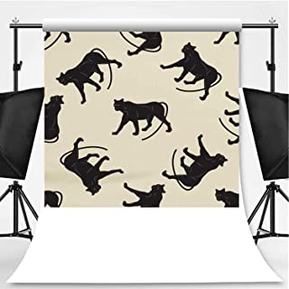 Pattern Black Panther Art Creative Modern Vector jeffcyb of a Light Background Photography Backdrop,030512 for Television,Flannelette:5x7ft