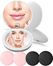 NCToys Compact Mirror with Light Set of 6, 1X/10X Magnification Round LED Makeup Hand Mirrors Bulk for Purses(3 Colors)