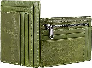 HongLang Billetera minimalista con bloqueo RFID, bolsillo frontal para hombres y mujeres, cierre de cuero, delgado, tarjet...