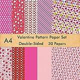 FEPITO Juego de papel con diseño de San Valentín papel decorativo de 21 x 28,5 cm para hacer tarjetas, decoración para álbumes de recortes, suministros para el Día de San Valentín, 10 diseños