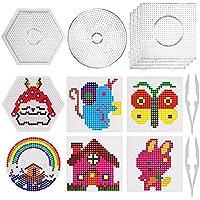 SAVITA Placa de plástico Transparente para Clavos de 5mm, Set de Beads Plantilla Grandes de 6 Piezas- 4 Forma Redonda, 1redondo, 1hexágono