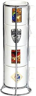 IMUSA USA A120-22206 Cuban Themed Cabaret Espresso Sets with Rack 4-Piece White