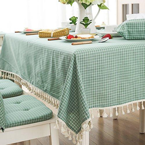 rectangulaire 100 x 140 cm en treillis Tassel nappes Tissu de coton Housse de table Vert, Tissu, Green, 140*180CM