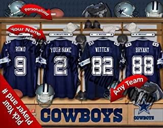 Dallas Cowboys Team Locker Room Clubhouse Personlized Officially Licensed NFL Photo Print
