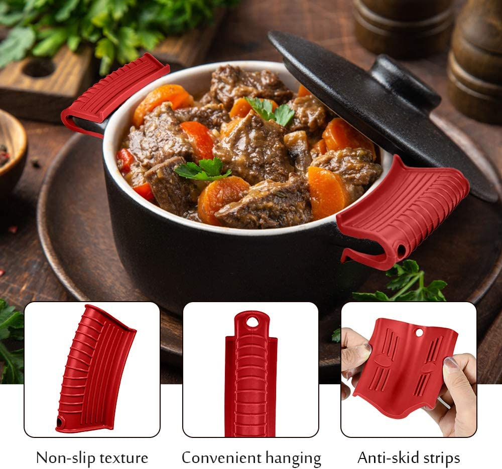 Hot Skillet Handle Covers Pot Grip Handle Sleeve Cast Iron Skillets Non-Slip Heat Resistant Pan Grip Cover for Cast Iron Woks Frying Pans Griddles Skillets Black Silicone Assist Handle Holder