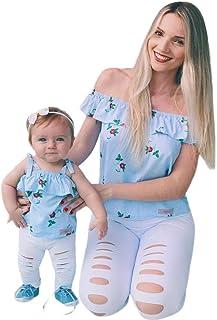 adb357753 PAOLIAN Camisetas para Bebe Niñas y Mujer Familia Madre e Hija Verano 2018  Sling Sin Tirantes