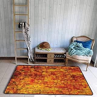 Burnt Orange Area Floor Rugs Vintage Mosaic Background Quadratic Little Geometric Squares Faded Print Dining Room Home Bedroom W55 x L78 Orange Mustard