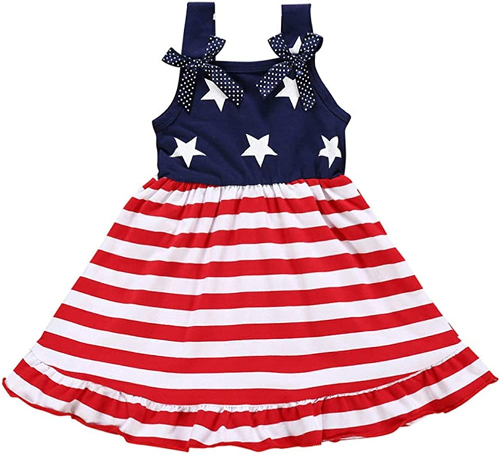 Toddler Kids Baby Don't miss the campaign Girls 4th of July Straps Stars Ranking TOP17 Bowknot Outfit