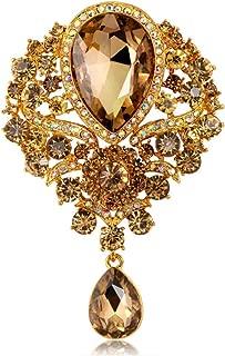 Shentukeji Womens Classic Style Clear Glass Flower Brooch Pin Crystal Rhinestone Jewelry