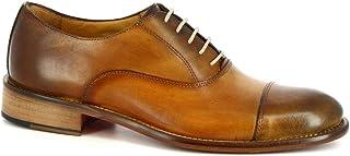 Leonardo Shoes Scarpe Francesine Eleganti Artigianali Uomo Pelle Vitello Cuoio - Codice Modello: 1395 SIVIGLIA Cuoio