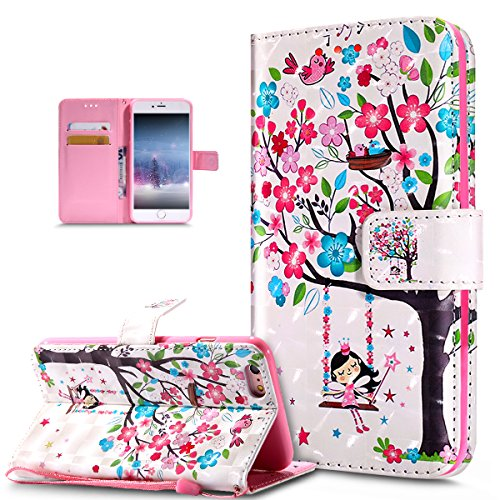 Coque iPhone 6S Plus / 6 Plus,papillon peint 3D coloré Etui Housse Cuir PU Portefeuille Flip Wallet Coque Étui Poches Case Housse pour iPhone 6S Plus / 6 Plus,Oiseaux d'arbre fleur rose