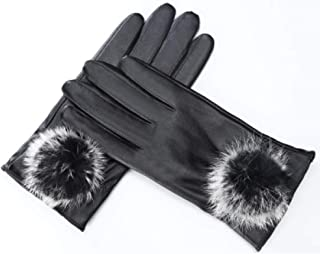 Womens Leather Gloves Ladies Touch Screen Mittens Soft Warm Velvety Lining Winter Gloves with One Velvet Bolus Decoration (Black)