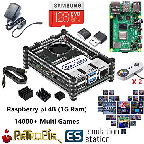 TAPDRA RetroPie Arcade Video Game Station with 14000+ Games, 128G Raspberry Pi 4B (1G Ram), Plug and Play, HDMI USB Port (2 Gamepad Included)