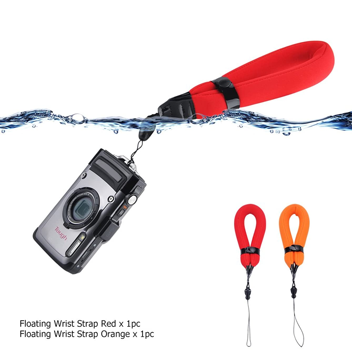 2 Pack Waterproof Camera Float Strap for Olympus TG6 TG5 TG4 TG3 TG2 TG870/Nikon W300 W100 AW120 AW110 AW100/Canon D30 D20/Fujifilm XP140 XP130 XP120 XP90 XP80/GoPro Hero7 Hero6 Hero5/Panasonic TS30