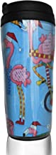 Coffee Cups Pink Flamingo Birds Out Travel Tumbler Insulated Leak Proof Drink Containers Holder Amazing 12 Ounces