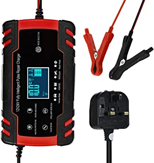 RuleaxAsi 1# 12V 24V Pulse Repairing Charger with LCD Display Motorcycle & Car Battery Charger AGM GEL WET Lead Acid Batte...
