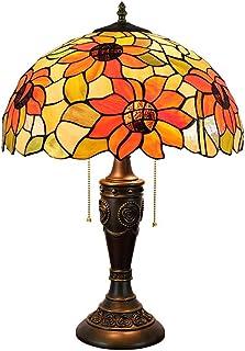QGL-HQ Tiffany Lampe de Table Sun Flower 16 Pouces en Verre teinté Ombre (40cm) Salon Lampe Chambre Chevet Lampe d'intérie...