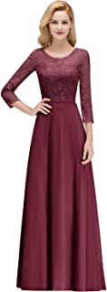Women 3/4 Sleeve Long Formal Prom Evening Gowns Lace Bridesmaid Dresses