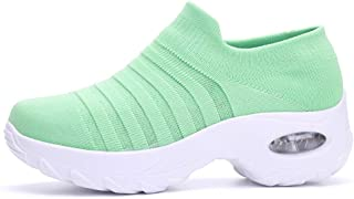 SKLT Women Air Cushion Running Shoes Platform Sneakers Slip On Knitted Elasticity Sock Shoes Mesh Comfort Ladies Trainers