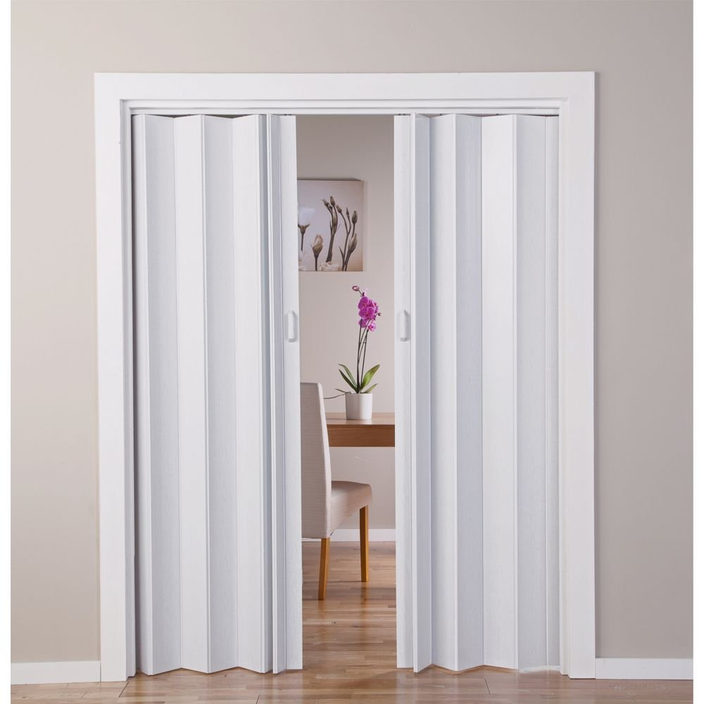 Puerta doble plegable, efecto de roble, color blanco: Amazon.es: Hogar