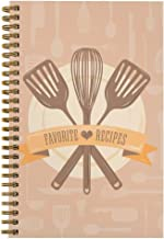 "Softcover Classic Recipes 5.5"" x 8.5"" Spiral Recipe Notebook/Journal, 120 Recipe Pages, Durable Gloss Laminated Cover, Gol..."