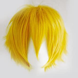 S-noilite Women Mens Short Fluffy Straight Hair Wigs Anime Cosplay Party Dress Costume Pixie Wig (Yellow)