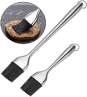 Voarge Barbecue szczotka silikonowa, zestaw 2 szt. z silikonu i stali nierdzewnej, nadaje się do użycia jako szczotka do g...
