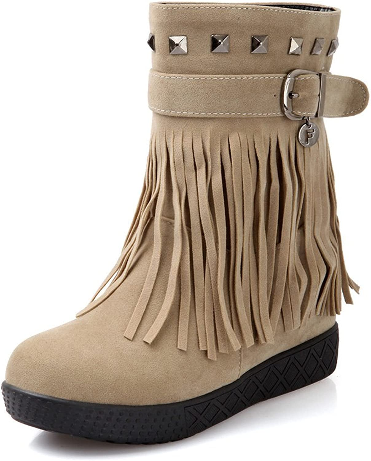 Lucksender Womens Fashion Round Toe Flat Frosted Fringed Tassel Ankle Boots with Rivet