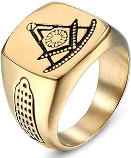 Gungneer Freemason Ring Stainless Steel Compass Square Biker Jewelry for Men