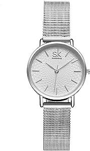 SHENGKE Reloj de Pulsera para Mujer, Correa de Malla, Elegante, para Mujer, Estilo Simplicidad