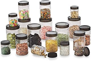 Radhna 18 Pcs Kitchen Storage Container Gift Set   Round Airtight Set with Good Grips for Cereals, Pulses, Spices, Dry Fru...