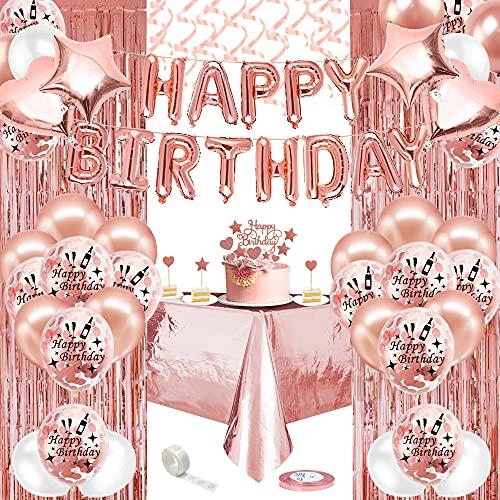 Birthday Party Décorations Femmes Or Rose,Rose Gold Ballons avec Bannière,Nappe,Rideau Latex Feuler Ballons Confettis, Fournitures Fête Anniversaire pour Fille