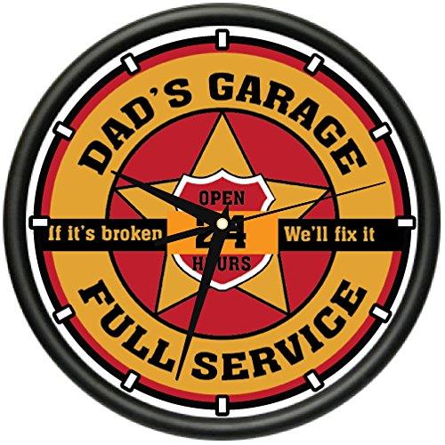 Dad's Garage Wall Clock Man Room car Mechanic auto Repair Shop Gift