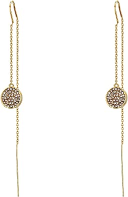 LAUREN Ralph Lauren - Gold and Pave Disc Threader Earrings