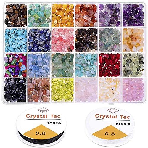 Cysincos 1403 Stück 24 Farben Edelsteinperlen Natürliche Unregelmäßige Edelstein Perlen Chip Schmucksteine Edelsteine Steinperlen für Schmuck DIY 4-8mm