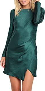 Women's Solid Color Satin Sexy Slim Mini Dresses Long Sleeve Backless Slight Asymmetrical Hemline Short Dress