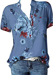 Fashion Shirt,Women Printing Plus Size Blouse Short Sleeve Easy Top with Pocket