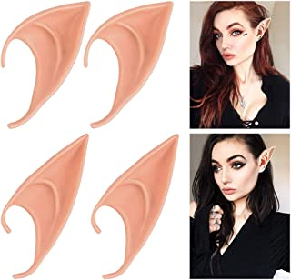 2 Pair Elf Ears Fairy Pixie Ears for Cosplay, Goblin Latex Ears Accessories, Halloween Party Props Vampire Ears Anime Party Costume - Kids or Adult (Natural Skin Color)