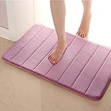 Bathroom Mat Anti Slip Memory Foam Bath Mat Carpet Bathmat Water Absorbing Rugs (WZ-13Brown, 40X60cm)